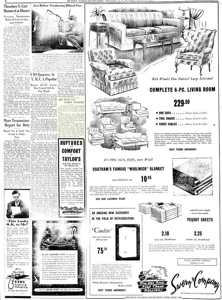 June 18, 1944 Article in Trenton Times newspaper.