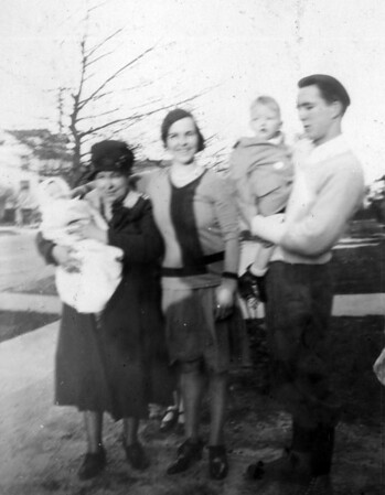 Spring, 1931 523 8th Avenue, Belmar, NJ Susan Veronica (Lukens) Keating holding Joe Kuck, Susan Maria (Keating) Kuck, Lawrence A. Keating holding Marty Kuck. Joey Kuck was born January 27, 1931. Given his size, no leaves on trees, Susan wearing coat - looks to be about April of 1931.