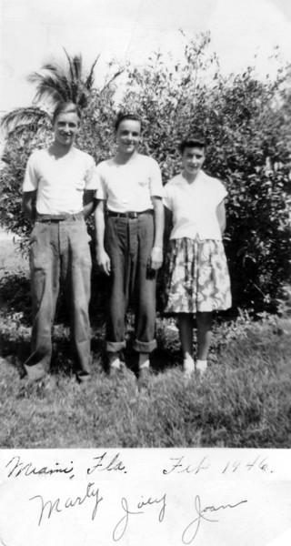February, 1946 Miami, Florida Marty, Joey and Joan Kuck.