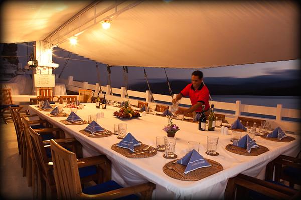 Komodo Dancer dinner setting at dusk light.