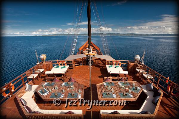 Sky restaurant on Arenui, Raja Ampat, Indonesia, Indian ocean, Asia