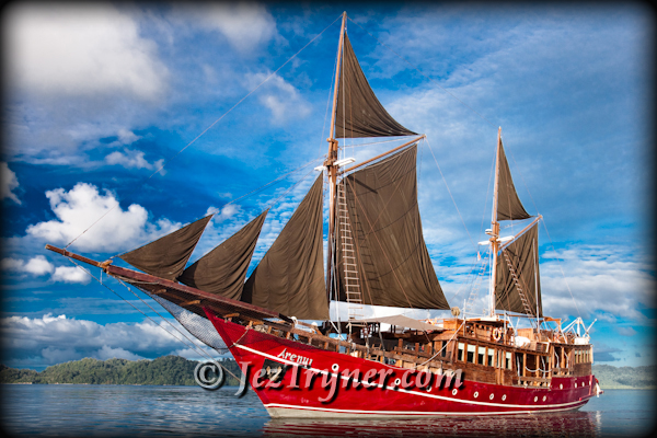 Arenui under sail, Raja Ampat, Indonesia, Indian ocean, Asia