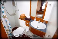 Single cabin, bathroom, Mermaid 1, Komodo island, Flores sea, Indian Ocean, Indonesia, Asia