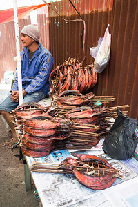 Traditional Marketplace with dried fish in Tomohon City