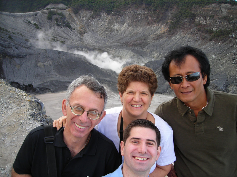 Dad, Mom, Bapak, and muaa above the volcano crater