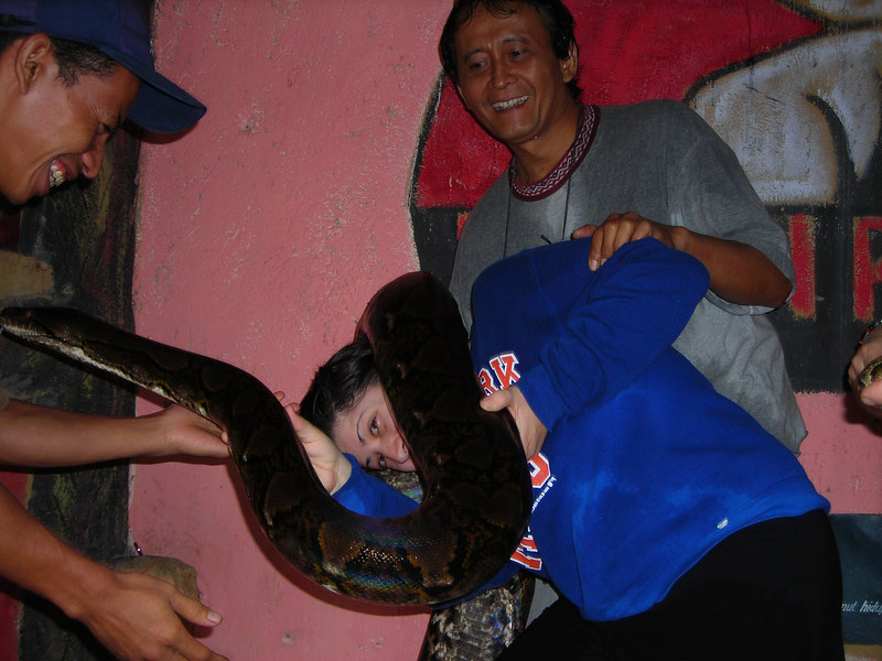 Lauren's having a tough time lifting this snake off of her :)