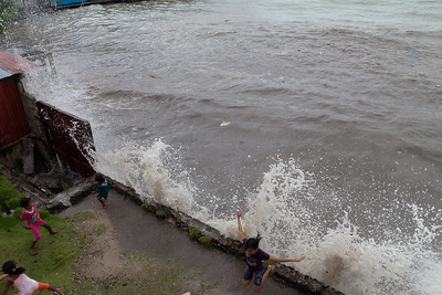 Waves splashing on our sea wall during a very high tide