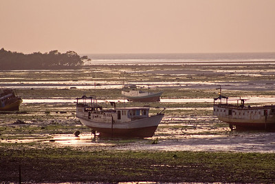 Boats at low tide, evening, Dobo
