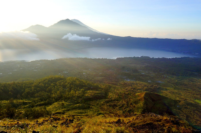 View of Lake Batur at sunrise, Bali, Indonesia.