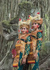 The dancers and the dragon, Balinese dancers and dragon statue, Dragon Bridge, Monkey Forest, Ubud, Bali