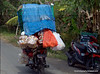 A very overloaded motorbike in Ubud, Bali, Indonesia in June 2011