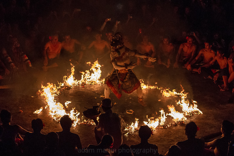 The monkey God, Hanuman in the ring of fire. Uluwatu.