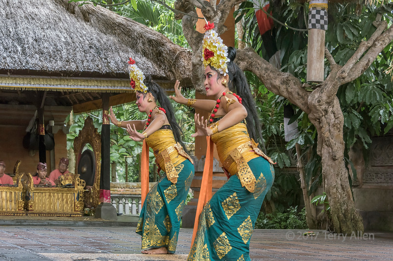 Women dancers and musicians in Barong Calon Arang traditonal dance, Ubud, Bali