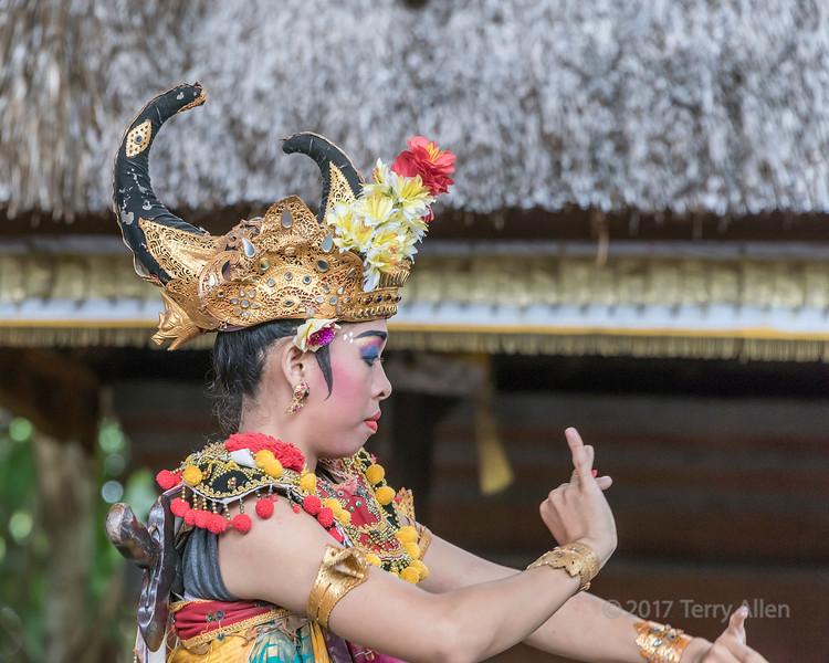 Young girl character in Barong Calon Arang Balinese dance, Ubud, Bali