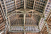 Wooden roof construction in pavilion next to Goa Gajah bathing pool, Ubud, Bali Island, Indonesia