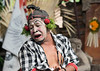 Sad clown character from Barong Calon Arang Balinese dance, Ubud, Balli