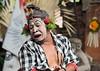Sad clown character from Barong Calon Arang Balinese dance, Ubud, Balli