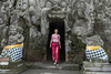 Jeannine Fisher coming out of the Elephant Cave (Goa Gajah) #2, Ubud, Indonesia