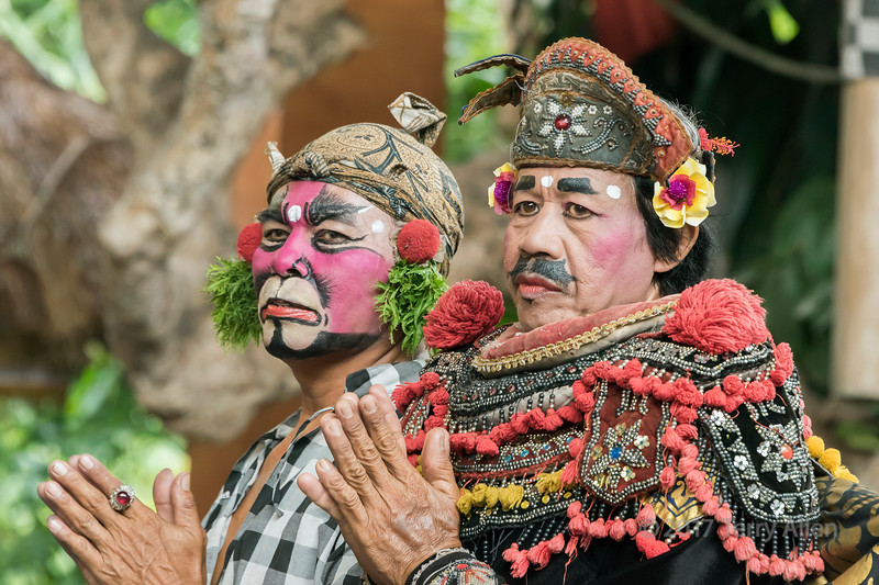 Clown and minister character from Barong Calon Arnag Balinese dance performance, Ubud, Bali
