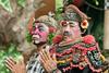 Clown and minister character from Barong Calon Arnag Balinese dance performance, Ubud, Bali