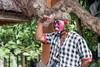 Clown character from Barong Calon Arang Balinese dance, Ubud, Balli