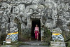 Jeannine Fisher coming out of the Elephant Cave (Goa Gajah) #1, Ubud, Indonesia