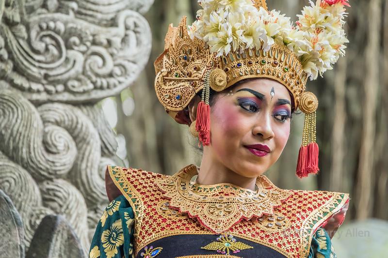 Portrait of a Balinese dancer in traditional attire, Dragon Bridge, Monkey Forest, Ubud, Bali