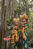 Balinese dancers and aerial roots, Dragon Bridge, Monkey Forest, Ubud, Bali