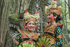 Two smiling dancers in traditional attire, Sacred Monkey Forest Sanctuary, Ubud, Bali, Indonesia