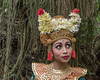 Balinese dancer with traditional makeup and eye position, Monkey Forest, Ubud, Bali
