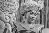 Portrait of a Balinese dancer in traditional attire BW, Dragon Bridge, Monkey Forest, Ubud, Bali
