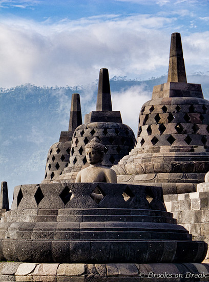 Buddha statues close up at Borobudur  © Russ Brooks