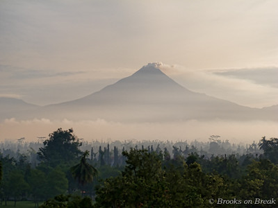 Mount Merapi from the top of Borobudur © Russ Brooks