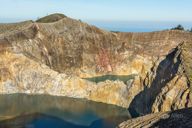Overview of Tiwu Nuwa Muri Koo Fai (left) and Tiwu Ata Polo (right) crater lakes, Kelimutu National Park, Flores Island, Indonesia