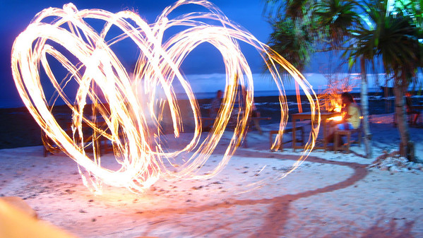 Fire spinner at the Sunset Bar — Gili Trawangan Island, Indonesia