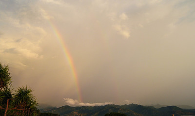 A rainbow over Lombok, seen from Gili Trawangan Island, Indonesia