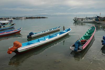 Kupang - boats near fish auction place
