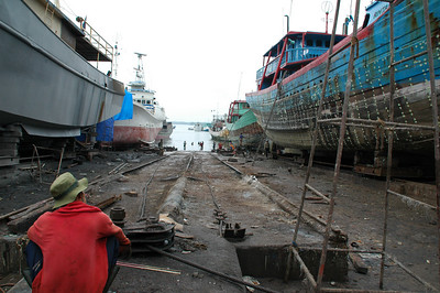 Scenes at a boatyard at Benoa Harbor - Bali