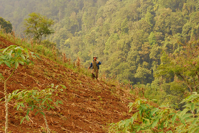 A man working in his steep field