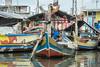 Boy sitting in a traditional fishing boat, Sunda Kelapa inner harbour, Jakarta, Indonesia