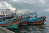 Boats outfitted for night fishing, Pasar Akan harbour, Jakarta, Indonesia