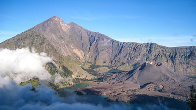 The peak and Gunung Baru, the 'New Mountain' — Mt. Rinjani, Lombok, Indonesia