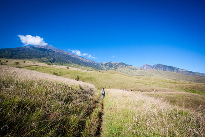 The grassy slopes of Mt. Rinjani — Lombok, Indonesia