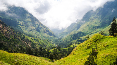 Looking down the valley — Mt. Rinjani, Lombok, Indonesia