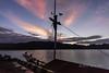 Tourist boat at the wharf at sunrise, Komodo Island, Lintah Strait, Indonesia
