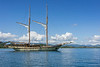 Sailing ketch Lamima off Labuan Bajo, West Flores Island, Indonesia