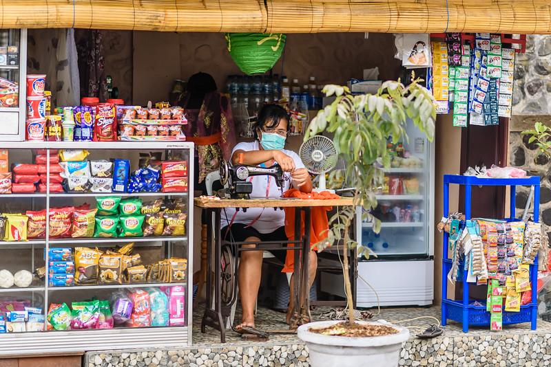 Sewing at the Corner Market
