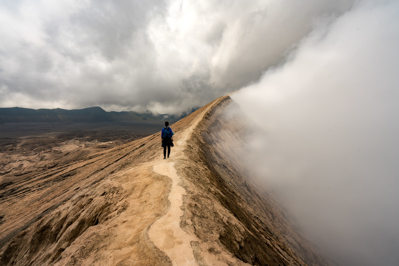 Walking along the crater rim on Mt. Bromo