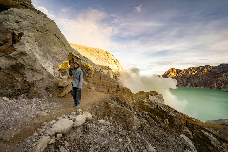 Sulfur mining at the Mount Ijen Volcano