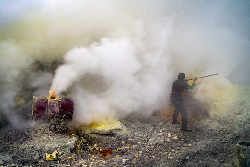 Mining for Sulfur in the Mt. Ijen Volcano